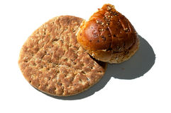 Pão liso com rolo na luz lateral branca Imagens de Stock