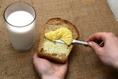 Pão, manteiga & leite Fotografia de Stock Royalty Free