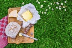 Pão, manteiga e queijo Imagens de Stock