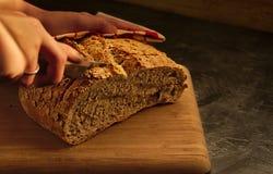 Pão natural com as sementes sobre a tabela de madeira imagens de stock