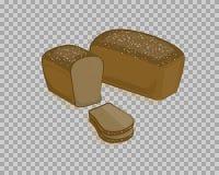 Pão preto, cortado em um fundo transparente Fotografia de Stock
