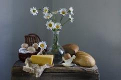 Pão, queijo e ovos Fotografia de Stock