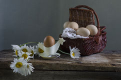 Pão, queijo e ovos Fotos de Stock