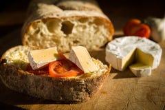 Pão, queijo e tomate de Ciabatta Foto de Stock Royalty Free