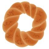 Pão redondo judaico Alimento de sábado Cozido recentemente para o menu da padaria ilustração stock