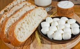 Pão, sal e queijo Fotografia de Stock