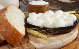Pão, sal e queijo Imagem de Stock