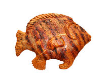 Pão sob a forma de um peixe isolado no branco Imagens de Stock