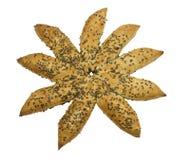 Pão star-shaped fresco com sementes de sésamo foto de stock