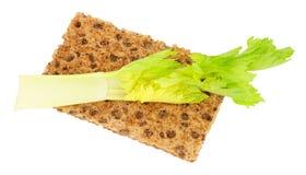 Pão torrado com o aipo baixo - alimento da dieta da caloria Foto de Stock