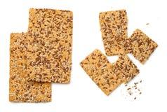 Pão torrado com a semente da linhaça, do sésamo e de girassol Imagem de Stock