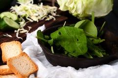 pão torrado do pão branco e dos espinafres servidos Fotografia de Stock Royalty Free