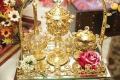 Pão tradicional do alimento do casamento no close up bonito da cesta Imagens de Stock