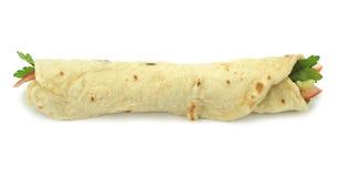 Pão tradicional do rolo do envoltório do turco No espeto do doner do trigo duro fotos de stock
