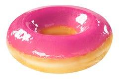 Pączek z różowym glansowanym glazerunkiem odizolowywającym na białym tle Jeden round różowy pączek obraz royalty free