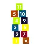 Pädagogische bunte numer Blöcke mit verschiedenen Zahlen Stockbild