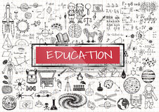 Pädagogische Gekritzel mit rotem transparentem Rahmen 3d mit dem Wort BILDUNG Stockfoto