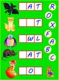 Pädagogische Seite für Kinder mit Übungen für Studie Englisch Müssen Sie fehlende Buchstaben finden und sie in leere Quadrate sch Lizenzfreies Stockfoto