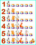 Pädagogische Seite für Kinder mit Zahlen Sich entwickelnde Fähigkeiten für die Zählung Stockfotografie