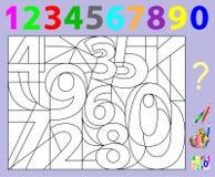 Pädagogische Seite für Kleinkinder Müssen Sie die versteckten Zahlen finden und sie in den relevanten Farben malen Sich entwickel Stockfotos