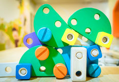 Pädagogisches Blockspielzeug des Kinderbaus Lizenzfreies Stockfoto