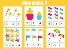 Pädagogisches Kinderspiel zählend, scherzt Mathe Tätigkeit Wieviele Gegenstände eine Arbeit zuweisen stock abbildung