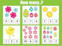 Pädagogisches Kinderspiel zählend, scherzt Mathe Tätigkeit Wieviele Gegenstände eine Arbeit zuweisen Kreis der farbigen Ostereier lizenzfreie abbildung