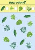 Pädagogisches Zählungsspiel für Vorschulkinder mit verschiedenen Blättern lizenzfreie abbildung