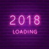 päfyllning 2018 För neonultraviolet för nytt år glödande bakgrund Royaltyfria Bilder