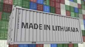 Päfyllningsbehållare med GJORT I den LITAUEN överskriften Litauisk släkt loopable animering för import eller för export arkivfilmer