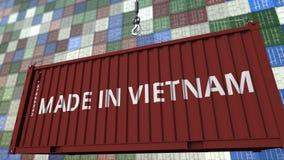 Päfyllningsbehållare med GJORT I den VIETNAM överskriften Vietnamesisk släkt tolkning 3D för import eller för export vektor illustrationer