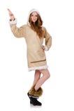Pälsfodrar bärande clos för eskimåflicka allra isolerat på Royaltyfria Foton