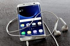 Pärla för vit för kant för Samsung galax S7 Arkivfoton