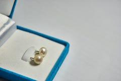 Pärlemorfärg örhänge i den blåa sammetsmyckenasken Fotografering för Bildbyråer