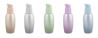 Pärlemorfärg flaskor för Cosmetic Arkivfoton