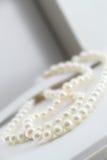 Pärlemorfärg halsband, i dess ask Arkivbilder