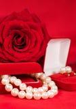 Pärlemorfärg halsband och örhängen Royaltyfri Bild