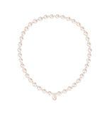Pärlemorfärg halsband på vit Royaltyfri Fotografi