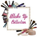 Pärlemorfärg ram med makeupuppsättningen Arkivbild