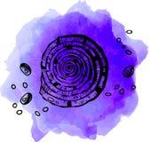 Pärlemorfärg skal på blå illustration stock illustrationer