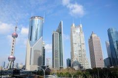 Pärlemorfärg torn shanghai och lujiazuihorisont Royaltyfri Bild
