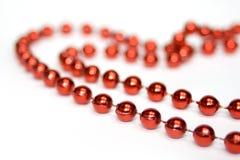 pärlor isolerade röd white Royaltyfri Fotografi
