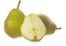 Päron i en vit bakgrund Arkivfoton