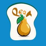 Päron med titeln på etiketten Klistermärke med ecoprodukten och I Royaltyfri Foto