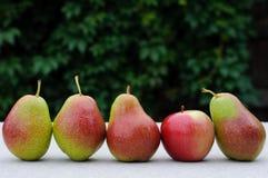Päron och äpple på tabellen Royaltyfria Foton