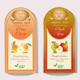 Päron- och Apple sirapetikett Fotografering för Bildbyråer