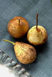 Päron på en servett i rad Arkivfoton