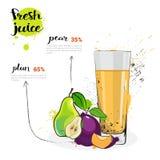 Päron Plum Mix Cocktail Of Fresh Juice Hand Drawn Watercolor Fruits och exponeringsglas på vit bakgrund stock illustrationer
