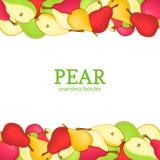 Päronhorisontalsömlös gräns Överkanten för vektorillustrationkortet och gula röda gröna päron för botten bär frukt den hela skiva Arkivbilder