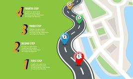 Płaska koloru stylu autostrady droga infographic Uliczna drogi mapa z kolorowymi szpilkami również zwrócić corel ilustracji wekto royalty ilustracja